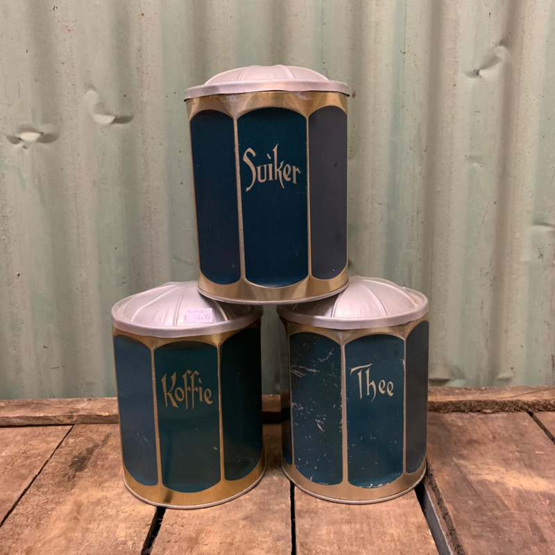 blauw koffie thee suiker setje  art decor