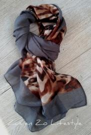 Sjaal met panterprint met donkergrijs