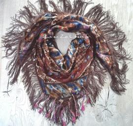 Ibiza sjaal met franjes en flosjes