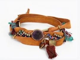 Armband echt leer 'Eivissa love'