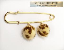 Speld voor sjaal 'Leopard pompon'