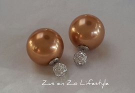 Double Pearls goud / kristal strass