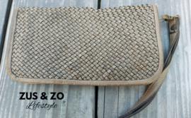 Portemonnee - clutch 'Vintage vlecht' taupe