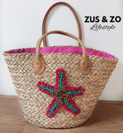 Beachbag Pink star