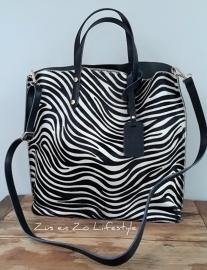 Shopper met koeienvacht  'Zebra'