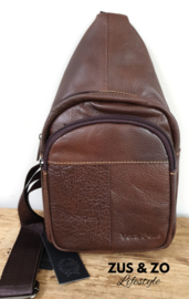 Crossbody bag leer 'New York' Brown