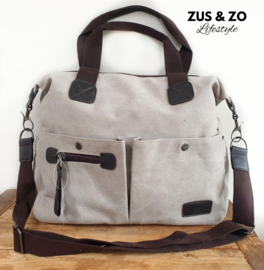 School - werktas canvas taupe-grey