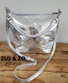 Tasje soft shine leather zilver