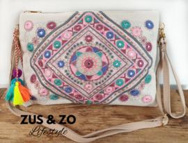 Clutch - tasje 'Ibiza pink colors'
