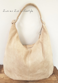 Casual bag suède licht taupe