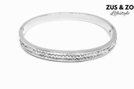 Slaven armband RVS Strass zilver