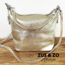 Tasje 'Soft Shine' leather goud