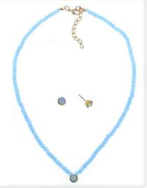 Setje ketting met oorbellen 'Cristal bleu'