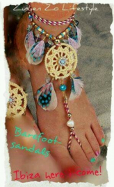 Barefoot sandals 'Naturel Feathers'