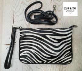 Clutch / tasje zebra met lange band