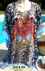 Strandtuniek kaftan 'Ibiza feathers'