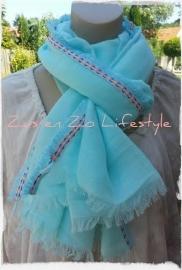 Sjaal mint met geborduurde rand
