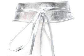 Brede taille strik riem zilver