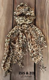 Sjaal beige panterprint
