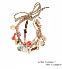 Enkel / armbandje 'Pink shells'