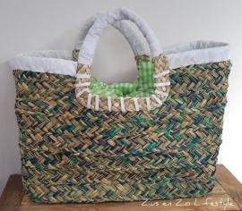 Ibiza straw bag turquoise -naturel