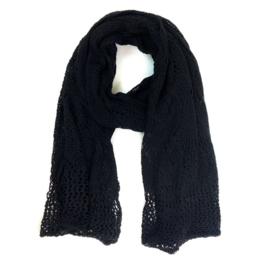 Mooie zachte Ajour sjaal XXL zwart