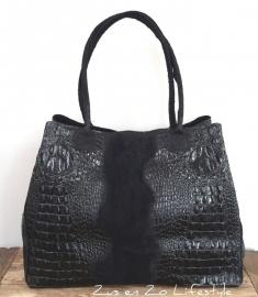 Grote tas croco zwart