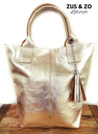 Grote shopper 'Gold leather'