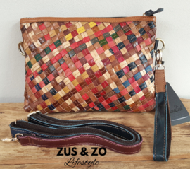Leren Clutch - tas vlecht 'Colors'