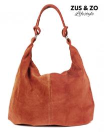 Casual bag suède warm-cognac / roest