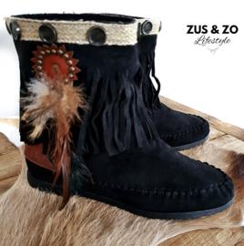 Korte laarsjes 'Ibiza Fringe Feathers' zwart