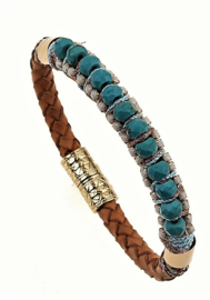 Armband 'Leather Beads' turquoise-green