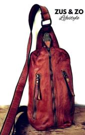 Crossbody bag - heup tas 'Vintage'donkercognac