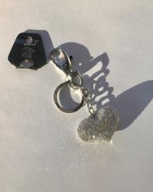Sleutel / tassenhanger 'Silver shine heart'
