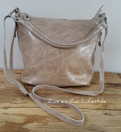 Tasje soft shine leather licht taupe