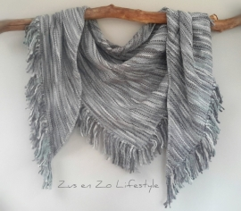 Grote geweven omslagsjaal pastel grijs