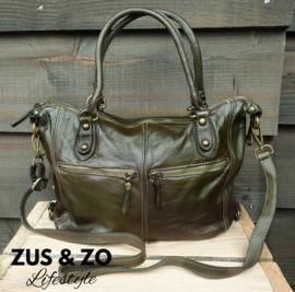 Tas 'Vintage zipper' dark green