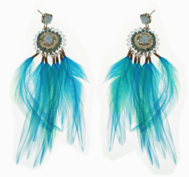 Oorbellen 'Turquoise feathers'