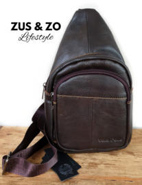 Crossbody bag leer 'New York' Dark Brown