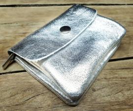 Mini portemonneetje echt leer zilver