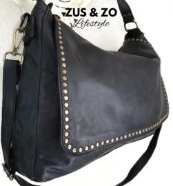 Grote tas met flap zwart
