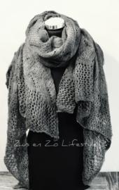 Mooie zachte Ajour sjaal XXL grijs