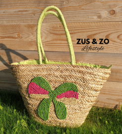 Ibiza beach straw bag strik 'lemon green'