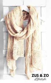 Mooie zachte Ajour sjaal XXL zand-beige
