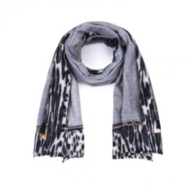 Warme sjaal 'Leopard Border' Grijs