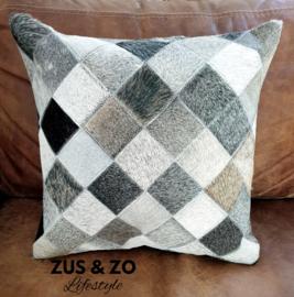 Kussenhoes met patchwork koeienhuid 'Grey'