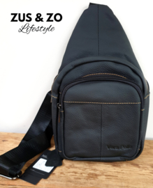 Crossbody bag leer 'New York' Black