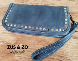 Clutch - portemonnee 'Stoer' denim bleu