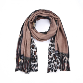 Warme sjaal 'leopard border' bruin