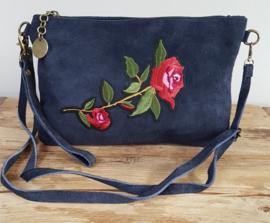 Clutch - tasje 'Rose' donkerblauw